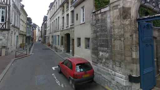 La rue Beffroy où s'est produite le drame, à proximité du Musée des Beaux-Arts de Rouen.