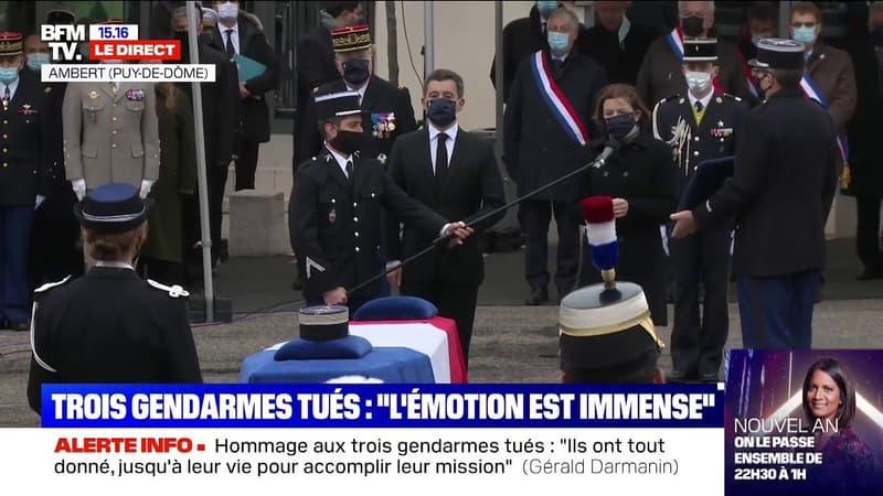 Florence Parly et Gérald Darmanin remettent la Légion d'honneur aux trois gendarmés tués dans le Puy-de-Dôme