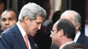 John Kerry et François Hollande, lors des commémorations du 70e anniversaire du D-Day.