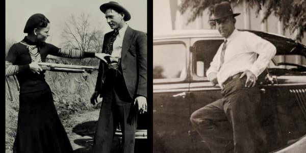 Bonnie et Clyde (gauche), Frank Hamer (droite)