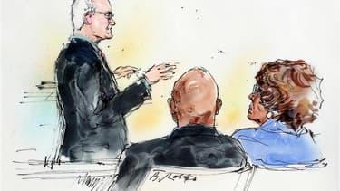 """La mère et un frère de Michael Jackson, Katherine Jackson et Randy Jackson, écoutent Marvin Putman, un avocat du promoteur de concert AEG Live, lundi dans un tribunal de Los Angeles. Au début du procès au civil de la mort du """"roi de la pop"""", l'avocat d'AE"""
