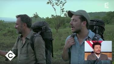 """Frédéric Lopez et Kev Adams dans """"Rendez-vous en terre inconnue""""."""