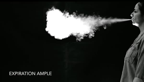 Extrait de la vidéo montrant la visualisation de l'écoulement d'air dans la production de voix et de parole