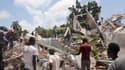 Un immeuble effondré aux Cayes, en Haïti, à la suite du séisme du 14 août 2021