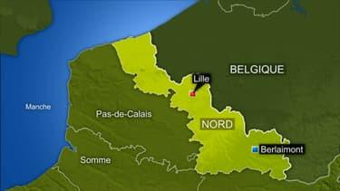 Un homme est mort noyé à Berlaimont (Nord), le 31 janvier 2021, pris dans les eaux de la Sambre en crue.