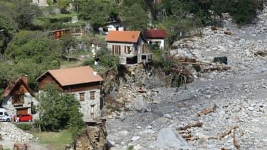 Les dégâts provoqués par les pluies et les crues, le 3 octobre 2020 à Saint-Martin-Vésubie, dans les Alpes-Maritimes (Photo d'illustration)