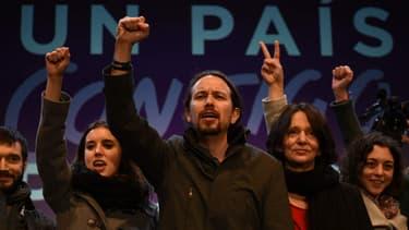 Pablo Iglesias, le leader du parti de gauche radicale Podemos arrivé troisième aux élections législatives du 20 décembre 2015 en Espagne.