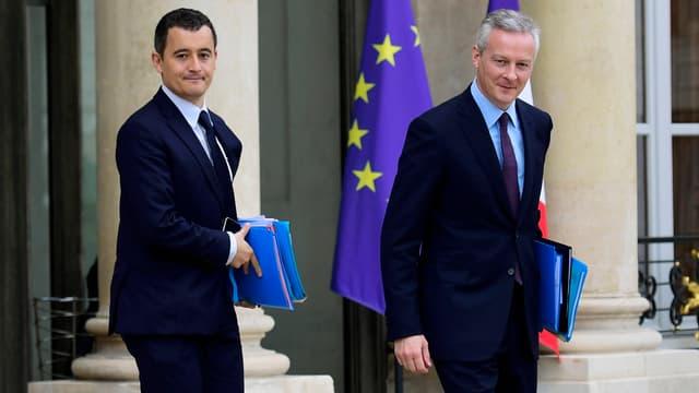 Le ministre des Comptes publics Gérald Darmanin et le ministre de l'Économie Bruno Le Maire.