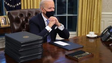 Le 46e président des États-Unis, Joe Biden dans le bureau ovale ce mercredi.