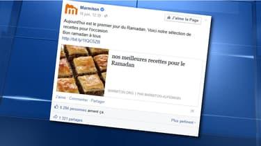 Le post spécial ramadan de Marmiton s'est transformé en un véritable défouloir.