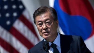 Le président sud-coréen Moon Jae-In en conférence de presse, le 30 juin 2017 à Washington -