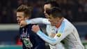 Joey Barton sous le maillot de l'OM face à David Beckham du PSG en 2013, mais ce n'est pas la bagarre dont on va vous parler