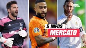 Buffon, Depay, Ramos... Les 5 infos mercato du 17 juin à la mi-journée
