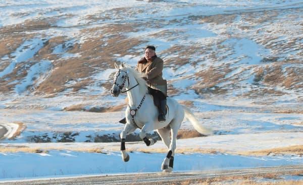 Photo non datée du leader nord-coréen Kim Jong Un sur un cheval blanc, au sommet du Mont Paektu