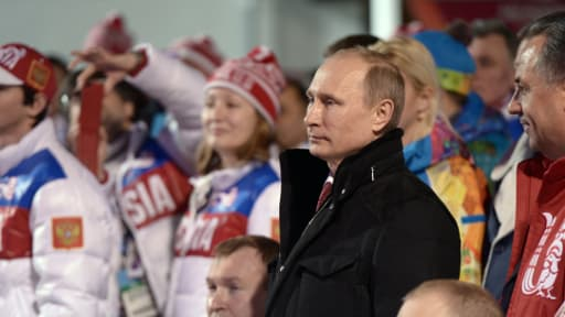 Vladimir Poutine à Sotchi, pour les Jeux Paralympiques, vendredi.