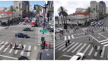 Un carrefour d'Hollywood, en Californie, a été transformé par une mesure très simple de changement de passage cloutés.