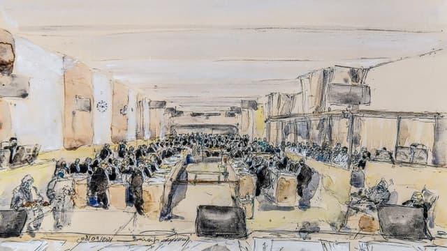 Croquis de la salle d'audience au Palais de Justice de Paris lors du premier jour du procès des attentats du 13-novembre, le 8 septembre 2021