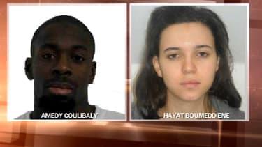 Les photos figurants sur l'avis de recherche émis par la préfecture de Police de Paris, vendredi. A gauche, Amedy Coulibaly et à droite, sa compagne, Hayat Boumeddiene.