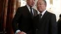 Le ministre des Affaires étrangères russe Sergueï Lavrov (à gauche), à l'issue de sa rencontre mardi à Moscou avec le conseiller d'Etat chinois chargé de la diplomatie Dai Bingguo. Au lendemain de déclarations du président américain Barack Obama précisant
