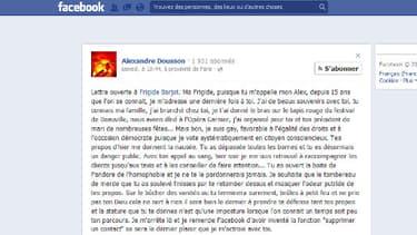 La lettre ouverte d'Alexandre Dousson à Frigide Barjot sur Facebook.