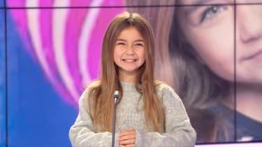 La jeune Valentina, qui a remporté l'Eurovision Junior 2020, sur le plateau de BFMTV le 30 novembre 2020