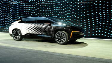 La FF91 est le premier modèle de grande série de Faraday Future, un nouveau constructeur de voitures électriques détenu par des fonds chinois et américains.