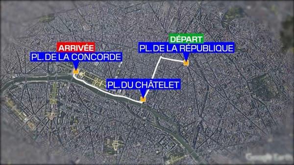 Parcours de la manifestation parisienne de vendredi.