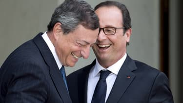 Mario Draghi et François Hollande en septembre 2014 (photo d'illustration)