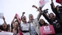 Des militants du MJS en mai 2012 lors de la victoire de François Hollande à la présidentielle.