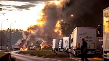 Le blocage sur l'A1, à Roye, samedi matin.