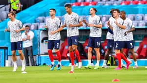 Les Bleus à l'échauffement avant un match de l'Euro