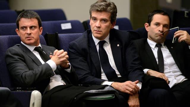 Manuel Valls, Arnaud Montebourg et Benoît Hamon le 27 novembre 2013 à Madrid.