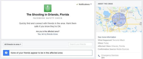 La version ordinateur du Safety Check de Facebook.