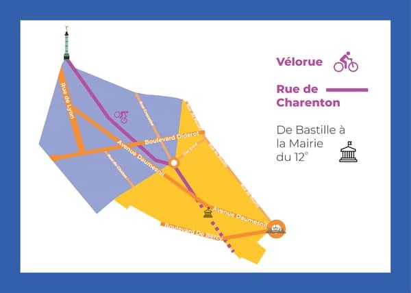 Plan de la future vélorue, rue de Charenton