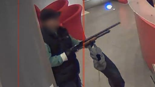 Image extraite de la bande de vidéosurveillance, dans les locaux de BFMTV le 15 novembre 2013.