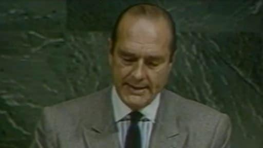 Jacques Chirac, alors Premier ministre, à la tribune de l'Assemblée générale de l'Onu, en 1986