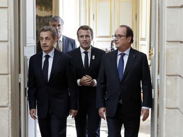 Macron, Sarkozy et Hollande à l'Elysée