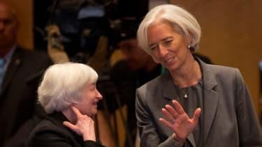 La présidente de la Réserve fédérale américaine Janet Yellen et la directrice générale du FMI Christine Lagarde au G20 de Sydney