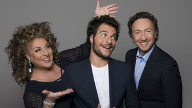 Marianne James aux côtés d'Amir et Stéphane Bern