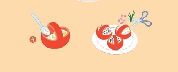 """Les """"tomates farcies en petits paniers"""", recette du livre d'Evelyne Debourg."""