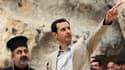 Bachar al-Assad le 20 avril dans la ville chrétienne de Maaloula, récemment reprise par l'armée syrienne.