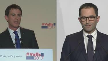 Benoît Hamon a pris la parole avant que Manuel Valls n'ai achevé son discours dimanche soir
