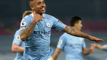 L'attaquant brésilien de Manchester City, Gabriel Jesus, auteur d'un doublé lors du match de Premier League à domicile face à Wolverhampton, le 2 mars 2021