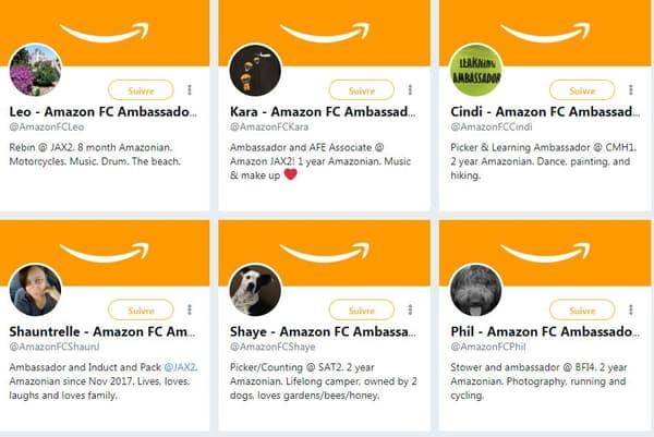 Les comptes Twitter des ambassadeurs Amazon