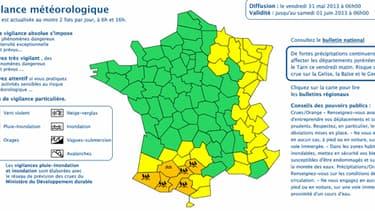Carte vigilance météo france 31 mai 2013