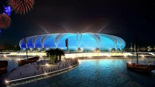 Maquette du stade de Port Doha, qui sera construit sur une péninsule artificielle du Qatar.