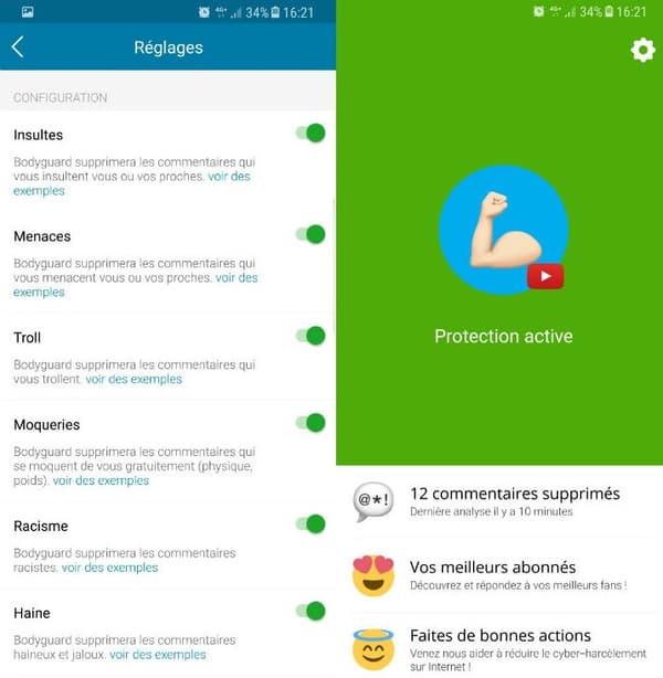 L'utilisateur peut paramétrer la modération sur l'application