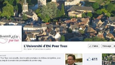 La page facebook de l'Université d'été pour tous.