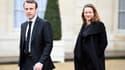 Emmanuel Macron et Axelle Lemaire dans la cour de l'Elysée le 10 décembre 2014.