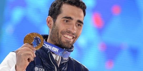 Martin Fourcade médaillé d'or lors de l'épreuve du 20km biathlon, le 14 février, à Sotchi.
